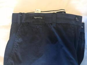 Marks & Spencer Mens Navy Blue Lightweight Tapered Leg Chinos 38w 31l
