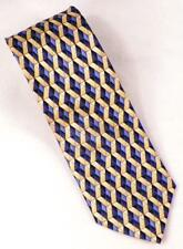Mens Necktie Blue Yellow Tan Diamonds Silk Mark Jason Neck Tie