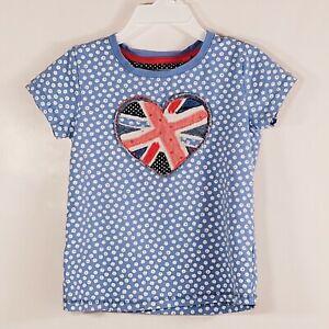 Floral Union Jack British Flag Heart Short Sleeve T-Shirt Toddler Girl's Sz 2/3