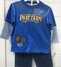 Boys Size 1 (12m) Phat Farm Blue Tee Top Jeans Set Rap Hip Hop New BNWT