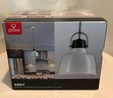 Globe - Andy, Pendant Light 65641 White Metal, Black Accents, NIB, 60 watt, Cord