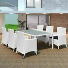 7pcs Outdoor Dining Set Patio Garden Table + Cushion Chairs Furniture Set White