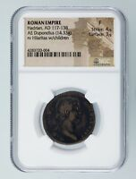 Roman Empire AE Dupondius Hadrian AD 117 - 138 NGC Graded Fine St 4/5 Su 3/5