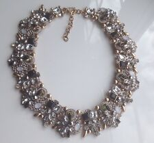 Zara Statement Necklace, With Clear And Black Rhinestones On A Gold Boho Vintage