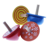 Lot of 4 Handmade Painted Wood Assorted Shapes Spinning Tops Kids Wooden Toy