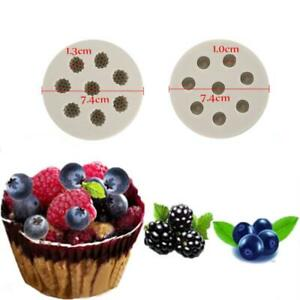 Blueberry Raspberry Silicone Mould Fruit Fondant Chocolate Cake Topper Molds 3D