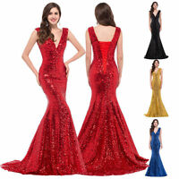 Stunning Sequin Long Wedding Bridesmaid Formal Ball Evening Prom Gown Dresses