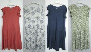 New Next V Neck Frill Sleeve Tiered Linen Blend Dress Size 6 - 22