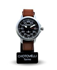 Chotovelli 3301 Mens Aviator Watch Vintage leather Strap 3301- RRP £180
