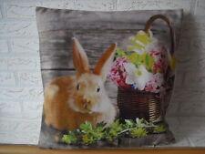 Kissenhülle, Kissenbezug, Dekokissen, Ostern Fotodruck Hase 40x40 cm