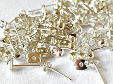 2 PART EARRING STUDS Silver Plated 100 studs/100 backs MPC0047   50 Pairs