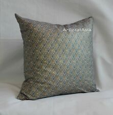 1 LIGHT GRAY GREEN RED & GOLD COTTON BATIK PILLOW COVER SQ 45x45cm OR 18x18in