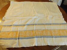 """Vtg Large Yellow Blue Damask Tablecloth 62"""" by 66"""""""