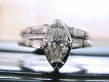 PLATINUM DIAMOND  0.80 VS1/H WEDDING/ENGAGEMENT  RING SET 5.5