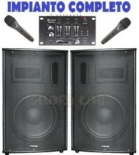 "SISTEMA AUDIO AMPLIFICATO 900W : 2 casse 10"" bluetooth + 1 mixer + 2 microfoni"