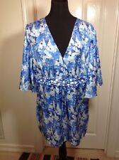 Diane Gilman 100% Silk Size XL Top/TUNIC BLUE/WHITE MULTI Beaded NWT