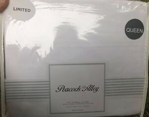 Peacock Alley Queen 500TC Cotton Sateen Sheet 4 Pc Set White NEW