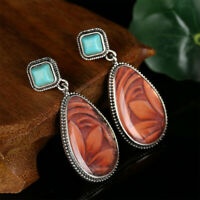 étalon la pierre naturelle eardrop gemstone turquoise de boucles d'oreilles