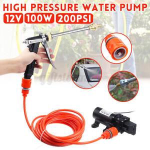 12V 100W Druckwasserpumpe Wasserpumpe + 6M Schlauch Pistole Lanze Düse 8.0L/min