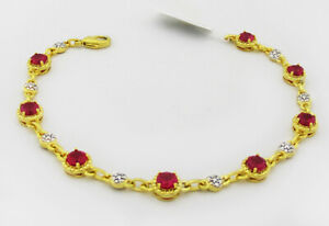 RUBIES 4.36 Cts TENNIS BRACELET 14k YELLOW GOLD PLATED ** New With Tag **