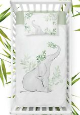 Elephant baby  cot bedding set , bamboo cotton , reversible Green White Grey