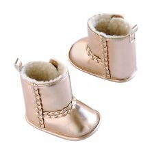 Carter's Metallic Rose Gold Crib Boots Shoes Baby Girl 6-9 Months Size 3 New