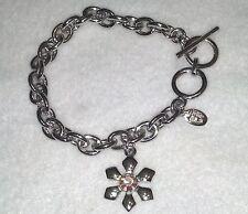 Vintage Cookie Lee Silver Tone Chain Link Bracelet Flower Pink Crystal Charm