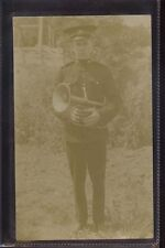 (r11) Real Photo of Army Band Horn Player, Believed Pudsey, Postally Unused