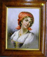 Piccolo ritratto di un italiano CONTADINO GIRL OLIO Frederico vitali 1st metà 20thC
