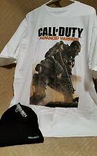 New W/tags Call of Duty Advanced Warfare Mens White T-Shirt  Size XL Black Hat