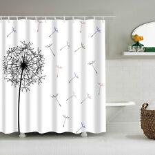 "71X71"" Floral Shower Curtain Set Bathroom Mat Plant Dandelion Waterproof Fabric"