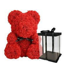 Rose Flower Teddy Bear Decoration - Great for Gifts, Home Decor (25cm)