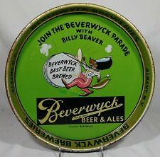 Old Beverwyck Beer Tin Serving Tray Beverwyck Breweries Inc. Albany Ny Beaver