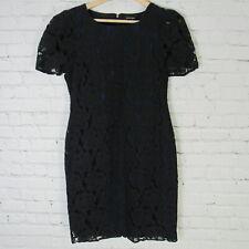 Saks Fifth Avenue Dress Womens Size 2 Black Lace Blue Lining