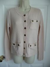 CAbi M Sweater Cardigan Top Cotton Cashmere Off White Button Down Glossy Buttons