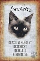 Gato Siamés Gato Cat Letrero de Metal Arqueado Metal Tin Sign 20 X 30CM