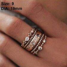 5pc Women Vintage Sparkly Rose Gold Plated Crystal Rhinestone Stackable Ring Set 9