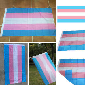 "Transgender Pride Flag Banner Pink Blue Transsexual Transvestite Trans 35""x55"""
