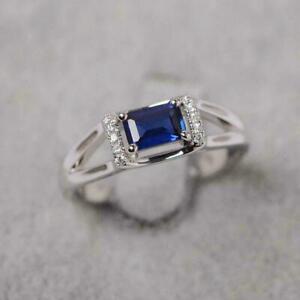 2Ct Emerald Cut Blue Sapphire Women's Best Engagement Ring 14K White Gold Finish
