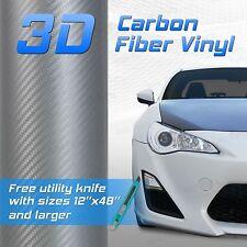 """SILVER 3D Premium Grade Carbon Fiber Vinyl Sheet Film - 12""""x60"""" 1x5 ft"""