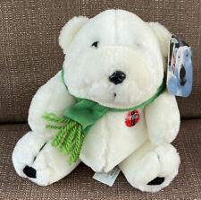 """Coca Cola White Polar Bear Green Scarf Black Nose Plush 7"""" Toy 1997 with Tag Htf"""