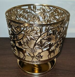 Bath Body Works Holiday Wildlife Gold Pedestal Large 3 Wick Candle Holder Sleeve