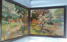 vintage completed paint-by-numbers set of (2) lovely scenic pictures retro decor