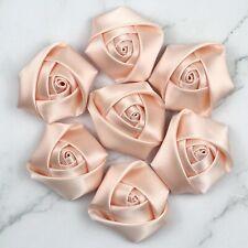 Nice 10/100PcDIY Satin Ribbon Rose Flower 40mm Craft/Wedding Appliques DIY Decor
