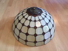 Beautiful Tiffany Style Brass And Glass Lamp In Cream, Red