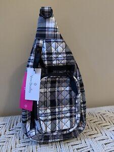 Vera Bradley Iconic Mini Sling Backpack Belt Bag Cozy Plaid Neutral NWT