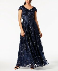 SIZE 14 BNWT ALEX EVENINGS SEQUINED METALLIC EMBROIDERED BALL GOWN NAVY