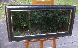 Contemporary Wall Mirror Dark Grey Metallic Wood Frame 103x54cm