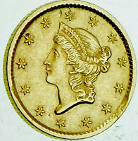 1854 $1 Liberty Head Gold Coin AU Great Condition 165 Year Old!!