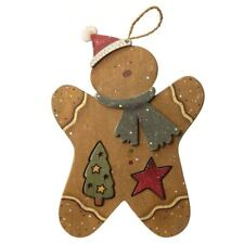 Wooden Hanging Festive Gingerbread Man Christmas Decoration